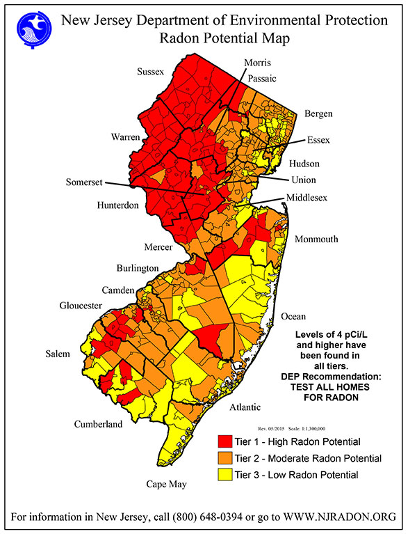 New Jersey Department of Environmental Protection Radon Potential Map